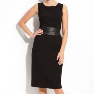 Lafayette 148 Sleeveless Sheath Dress w Leather
